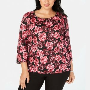 Karen Scott Plus Size Black Rose Pullover Top
